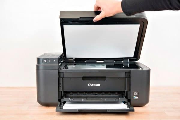 canon mx492 printer with the scanner tray open